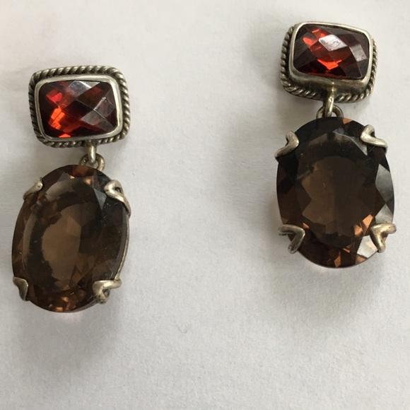 Lori Bonn Jewelry - Lori Bonn Smokey Topaz Red Garnet earrings 💖